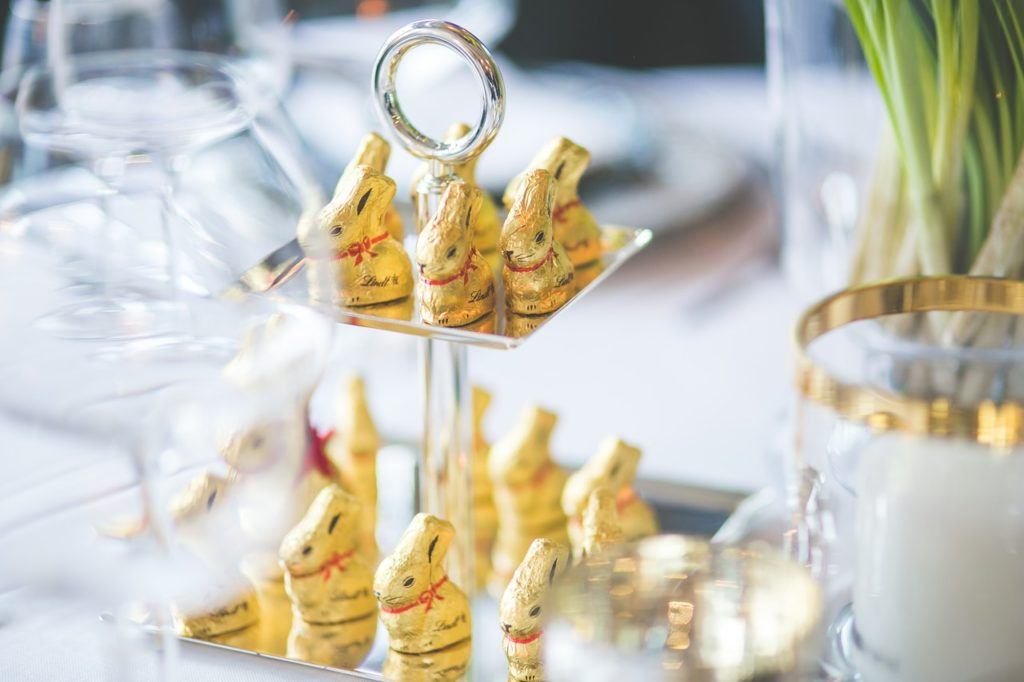 gold wrapped choc bunnies on tray