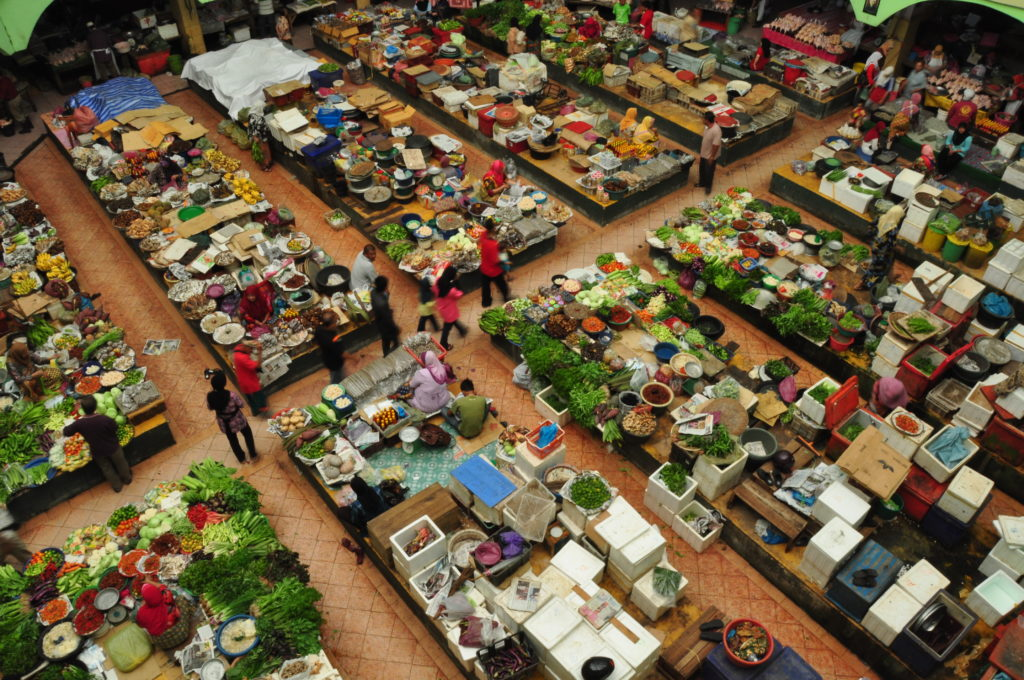 Aerial view of market with vendors
