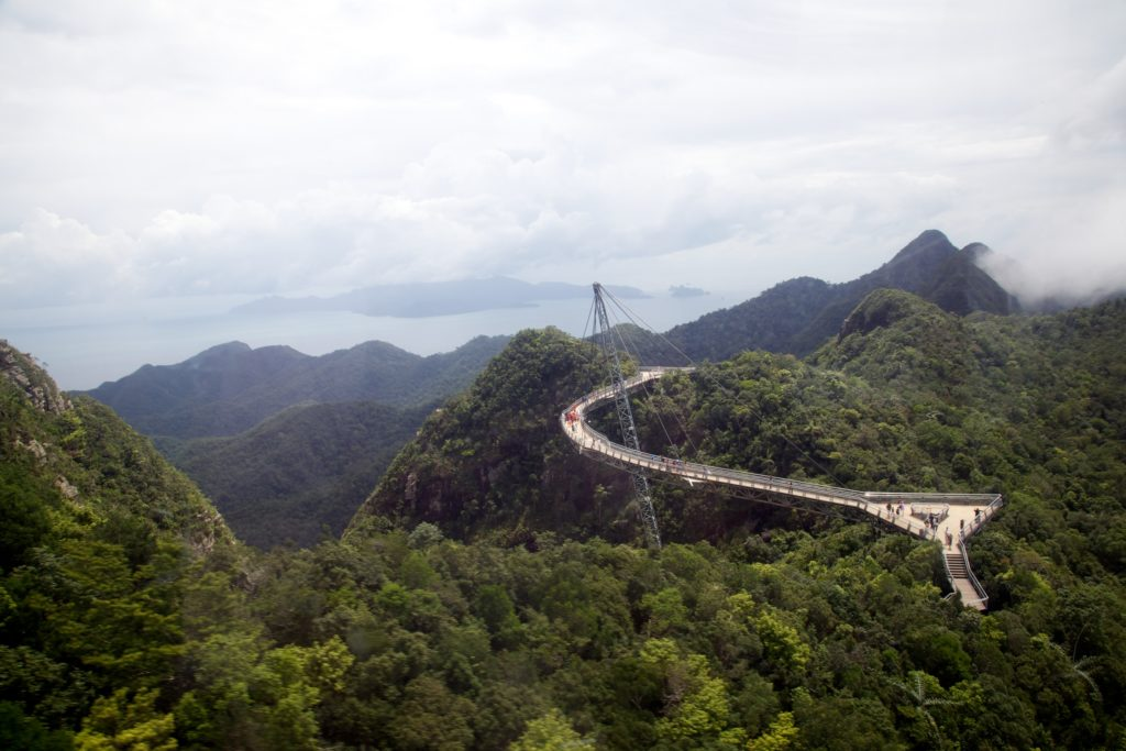Far view of Langkawi Sky Bridge with green trees around