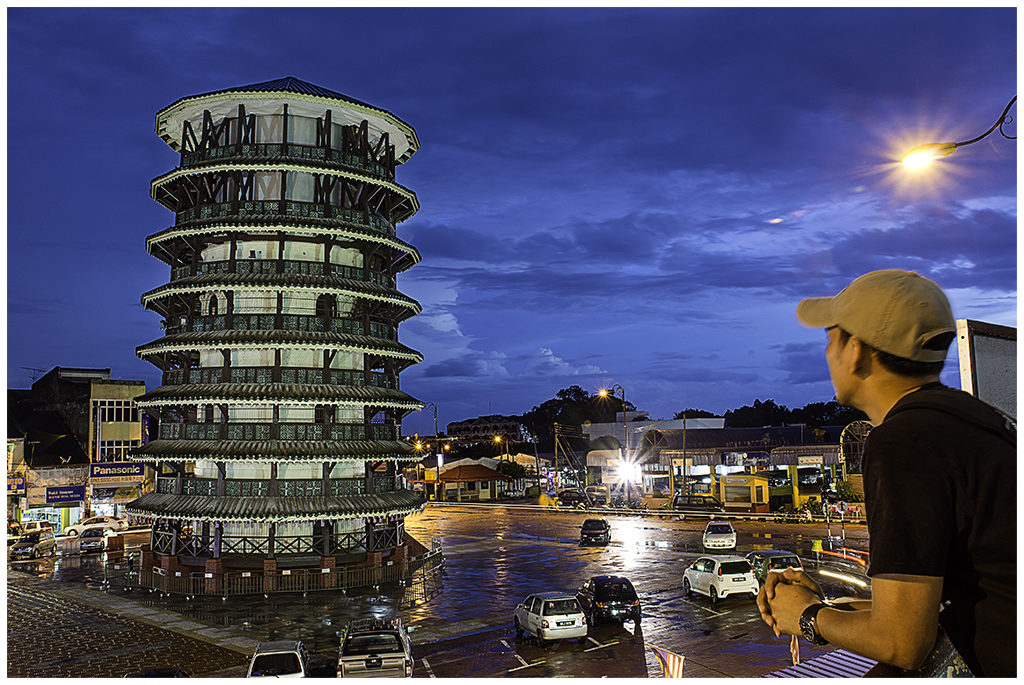 Leaning Tower of Teluk Intan by moonlight