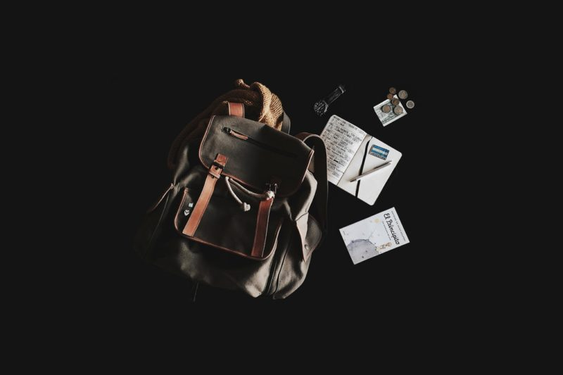 travel backpack and notebook