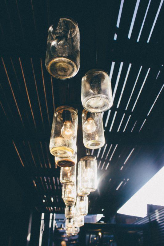 light bulbs in old mason jars
