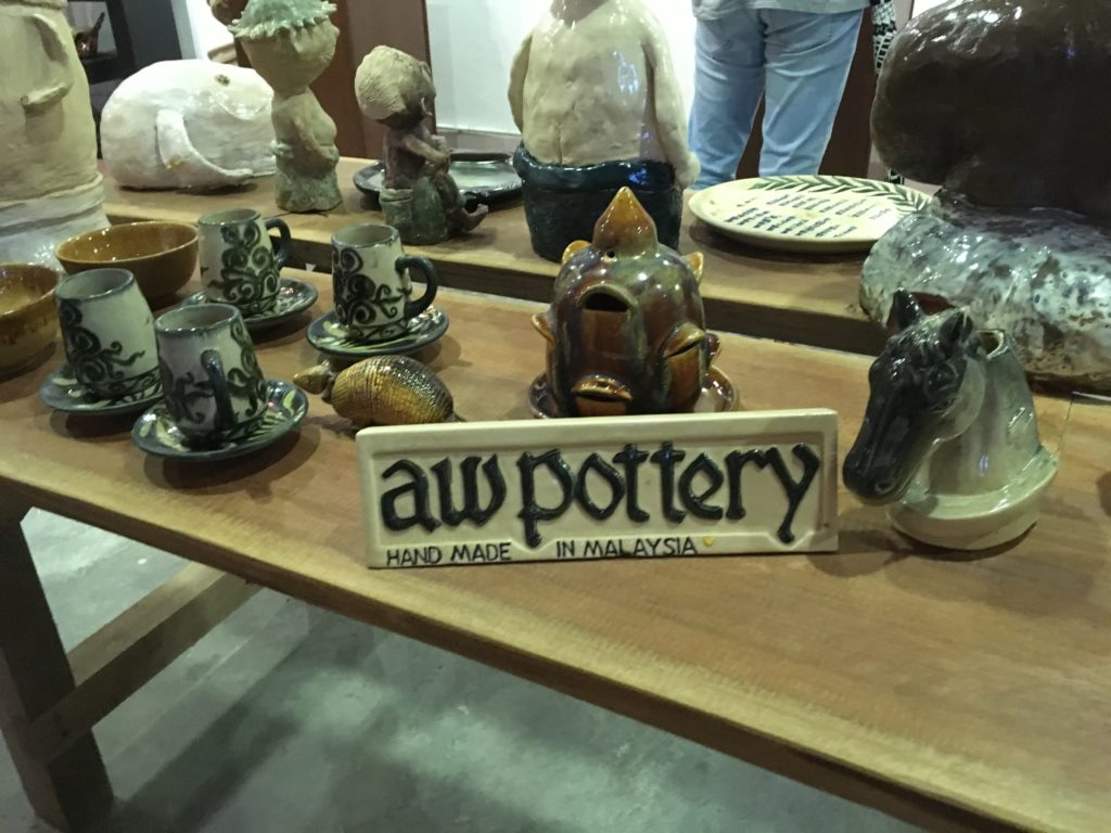 Display signage at Aw Pottery