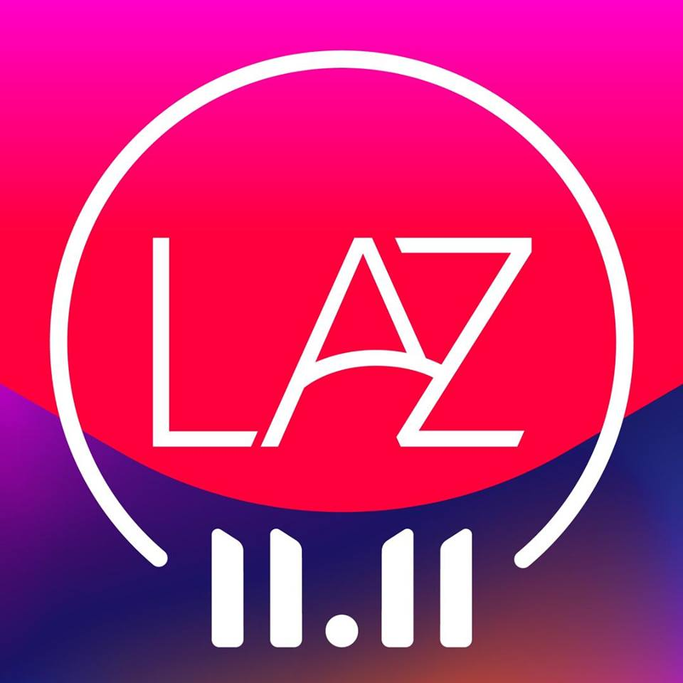 Lazada logo on red and purple background