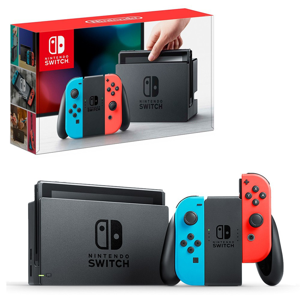 Nintendo Switch and box at back
