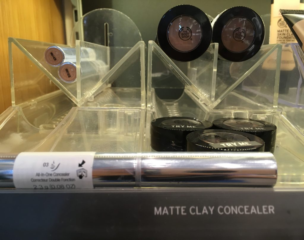 The Body Shop Matte Clay concealer on trays