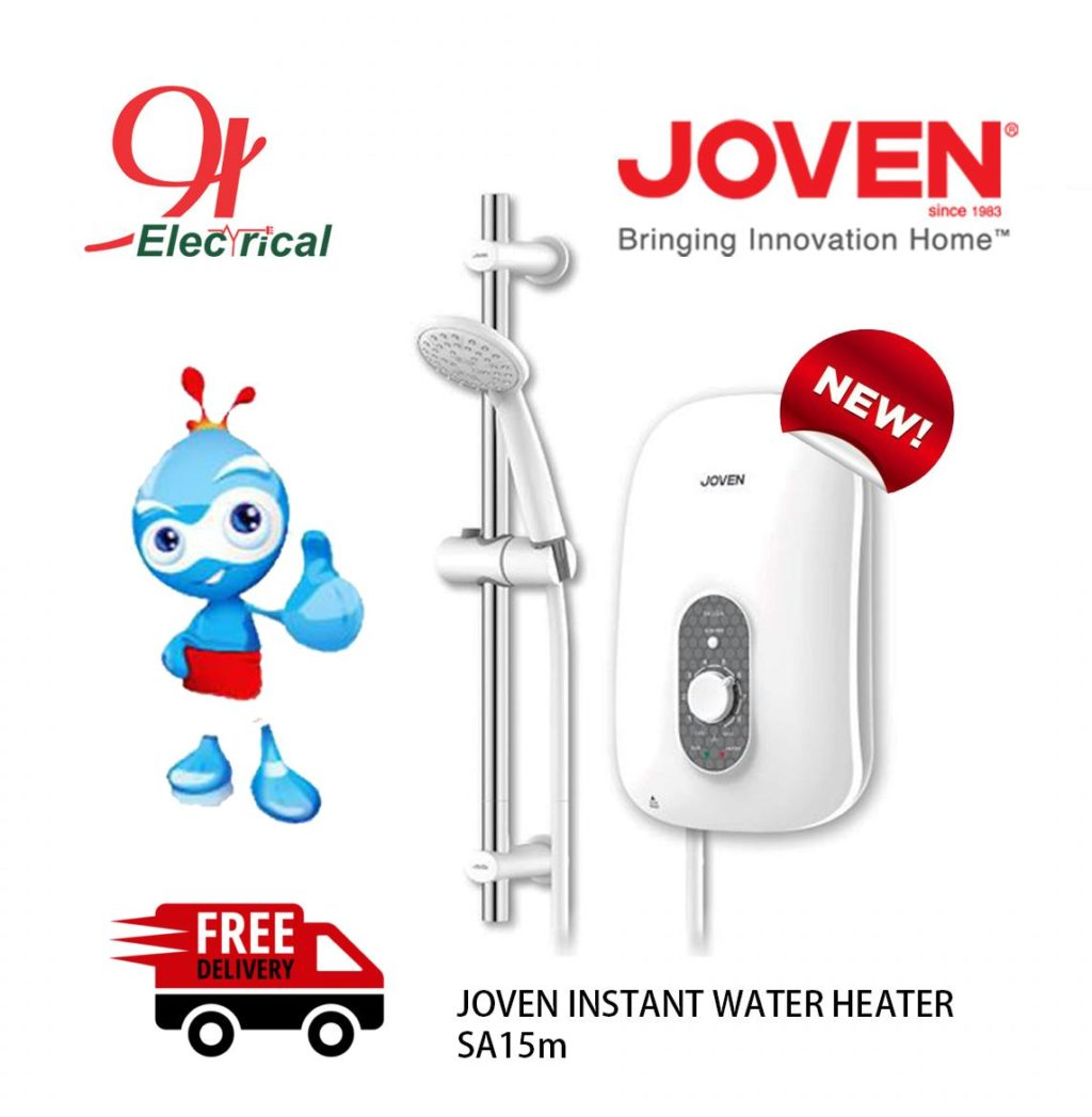 Joven white water heater with blue mascot and free delivery red truck icon