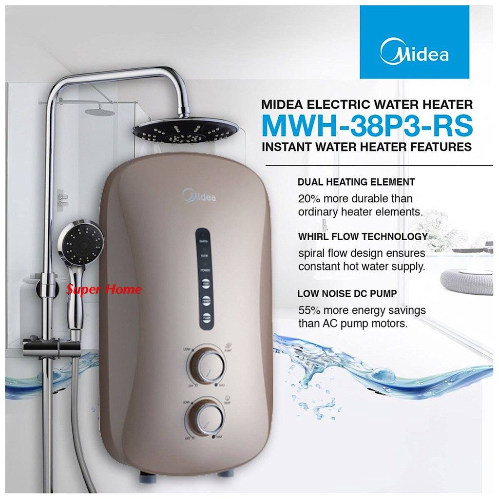 Midea MWH-38PR-RS water heater with rain shower