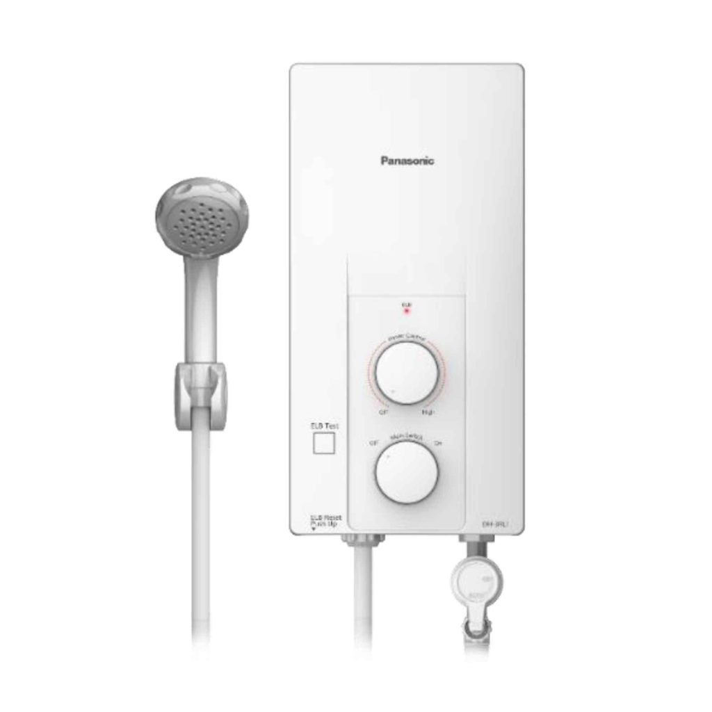 White Panasonic water heater with shower head
