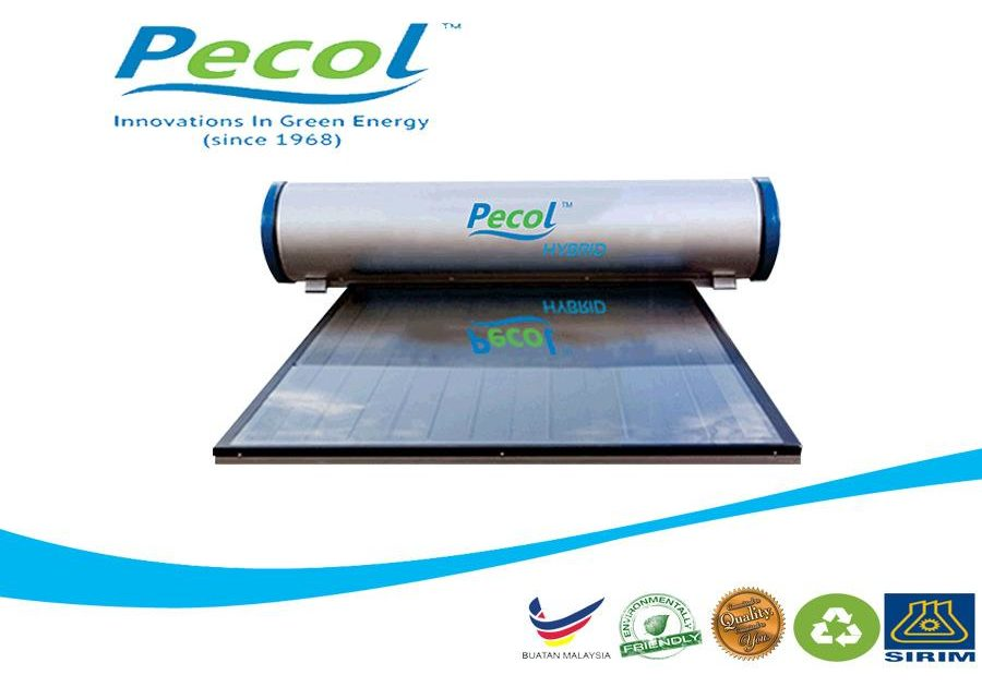 Pecol solar water heater with 5 accreditation logos below