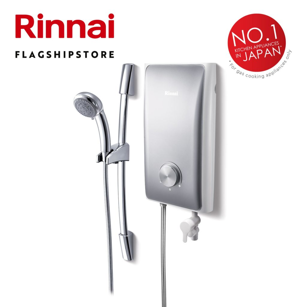 Silver Rinnai water heater with No.1 in Japan stamp