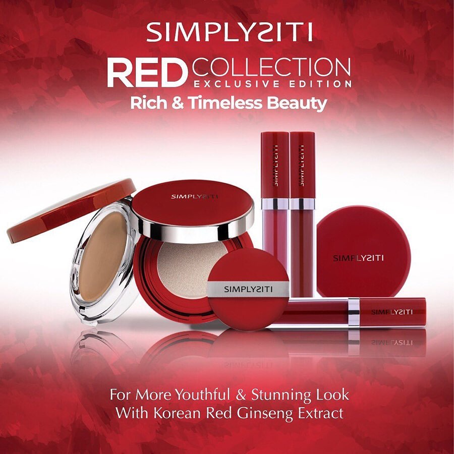 The Red Collection of cosmetics including compact, blusher and lippy