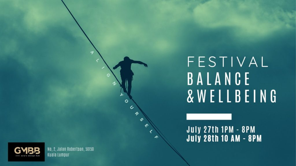 Poster in green featuring men walking on tight rope and event details