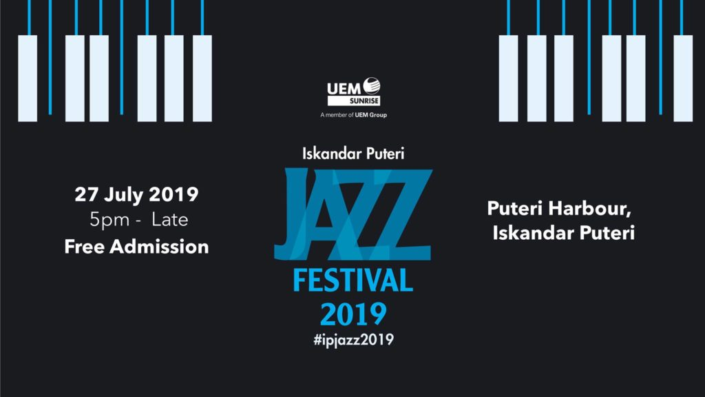 Poster in black and white for the Iskandar Puteri Jazz Festival 2019