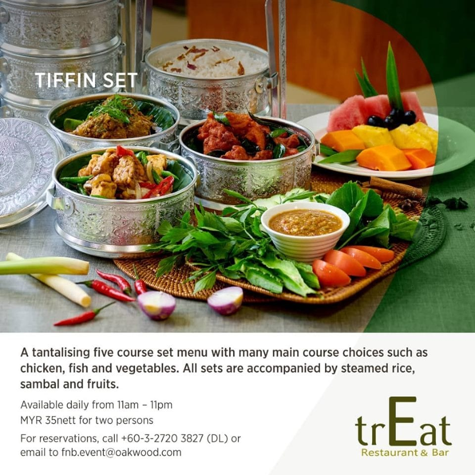 Tiffin Set promotion with dishes served in silver tiffins