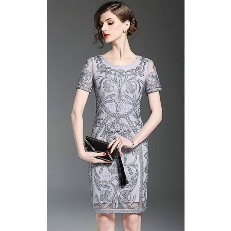 evening dress silver