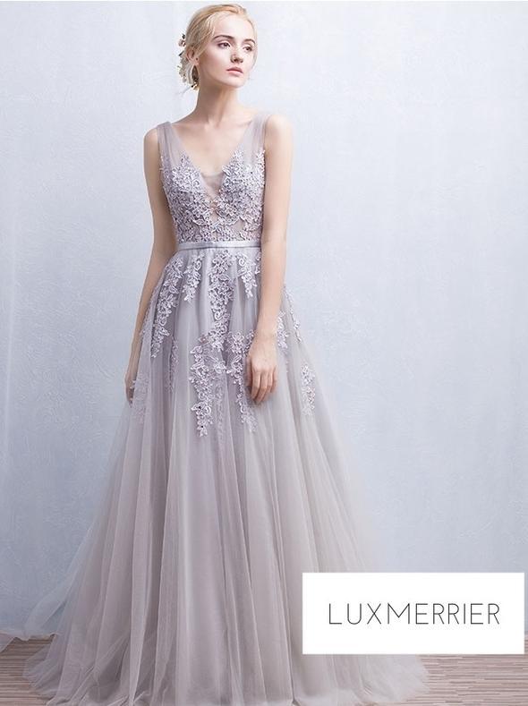 ivory purple applique gown