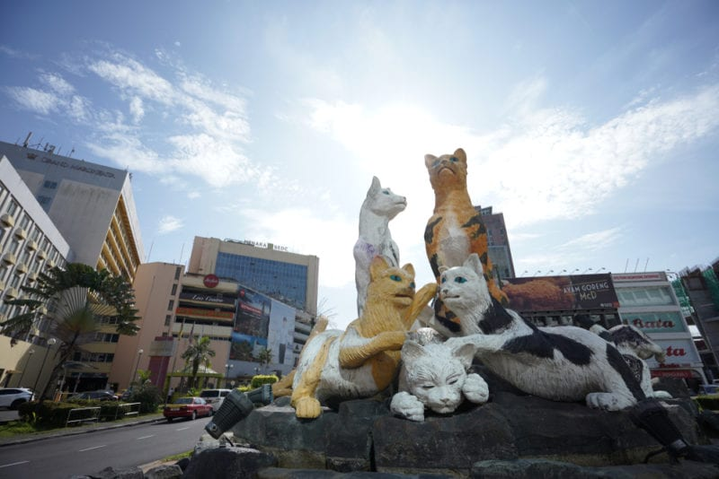 cat statues in middle of city town