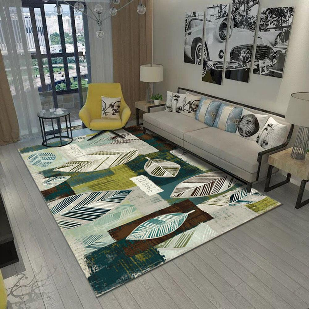 Green nature print rug on floor with sofa and furnishing around it