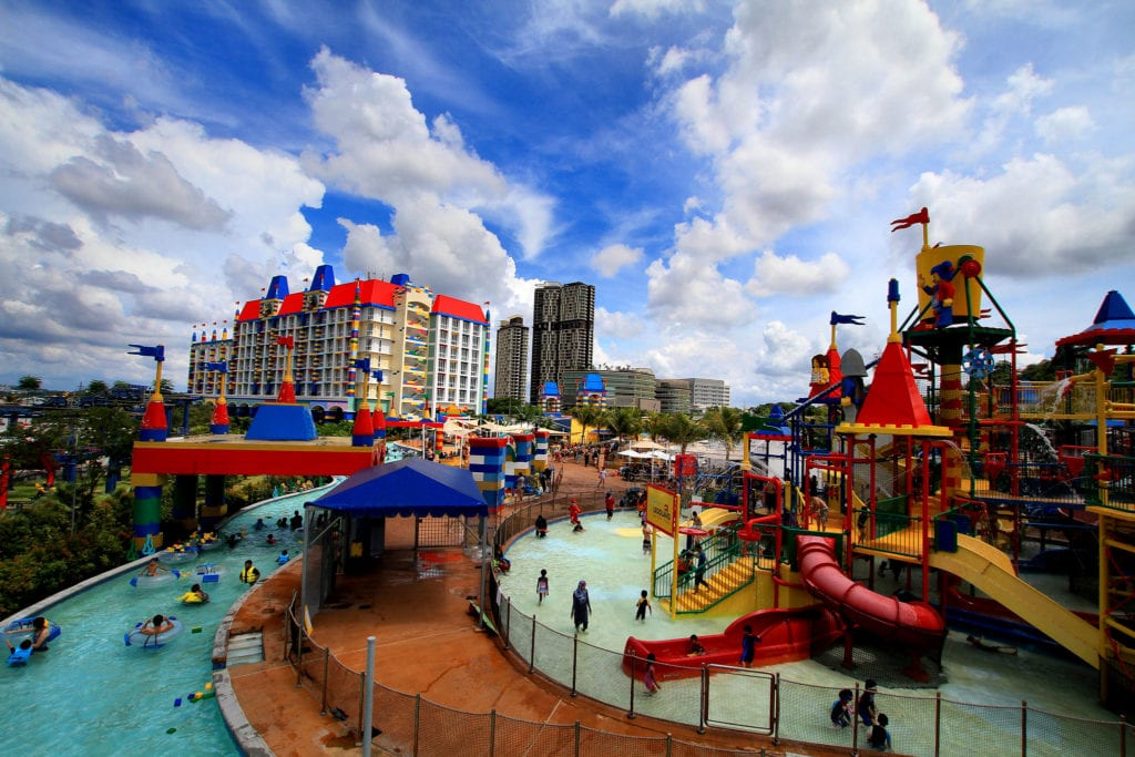 Overview of LEGOLAND Malaysia Resort with hotel exterior featuring colourful bricks
