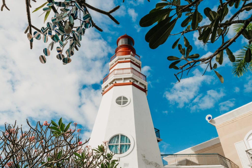 Exterior view of lighthouse against blue sky unique hotels