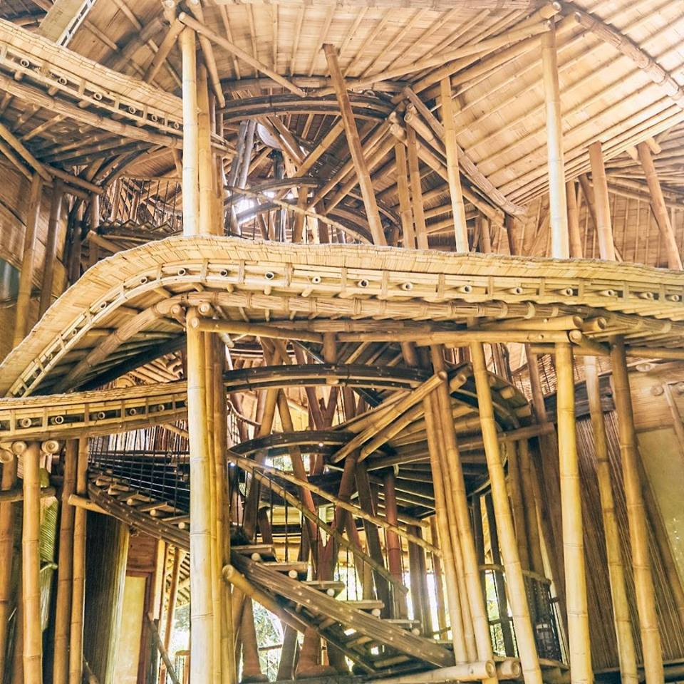 Close-up of bamboo architecture at Green Villa