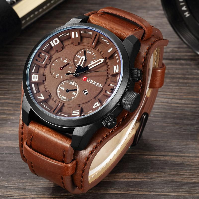 Curren Miiltary Watch in brown leather