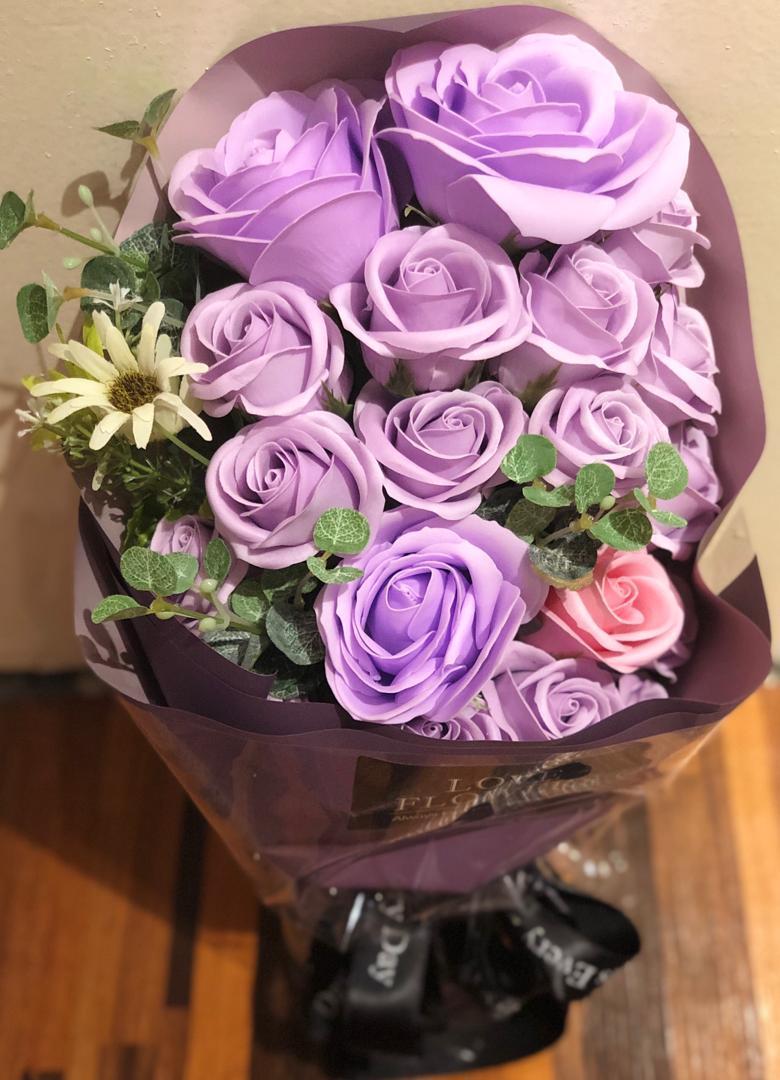 Luxury rose soap flower bouquet in purple