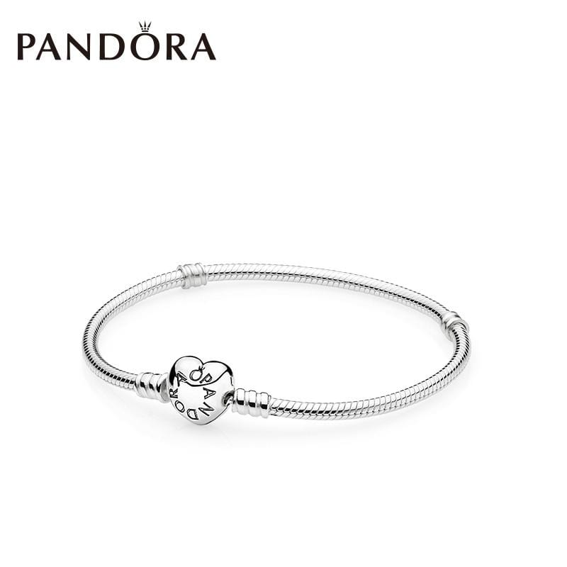 Pandora silver bracelet with heart-shaped charm