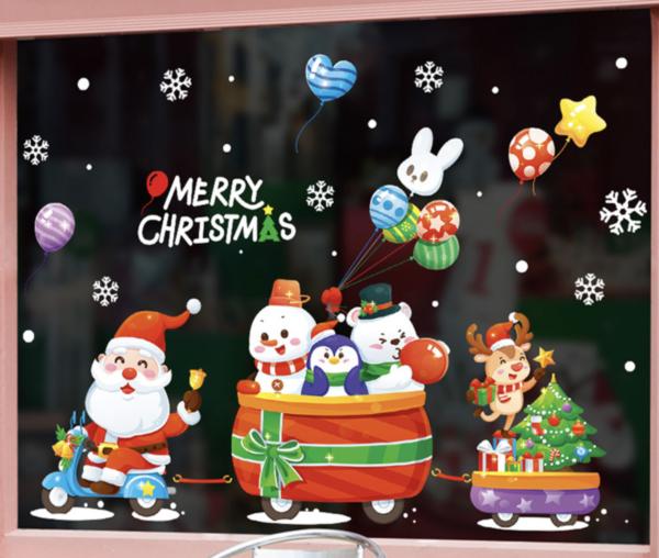 christmas decorations glass window stickers