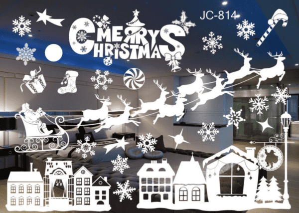 christmas window stickers with white snowflakes and reindeers