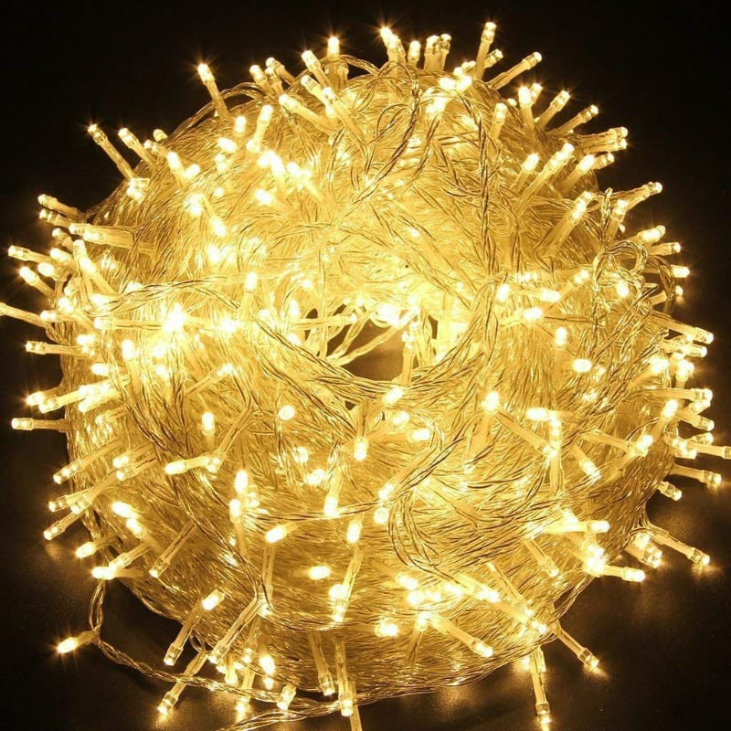 Fairy lights in yellow christmas decorations