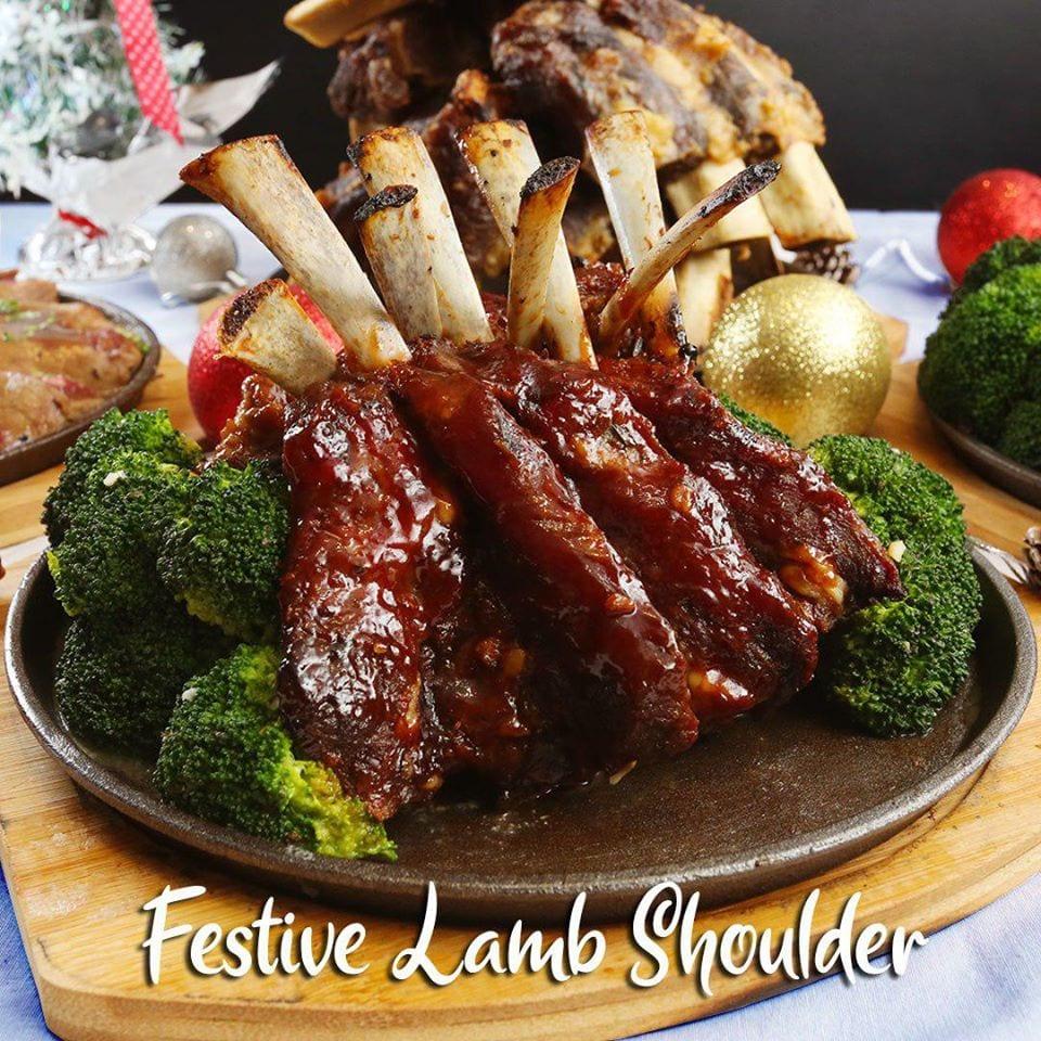 Lamb shoulder on platter