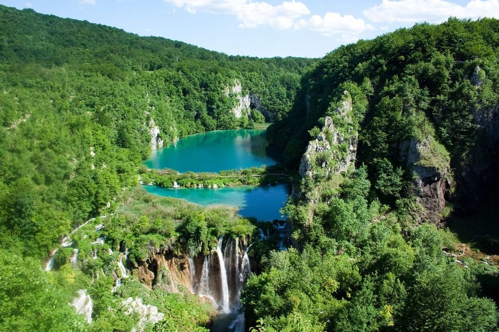 Plitvice Lakes National Park with turquoise waters and greenery