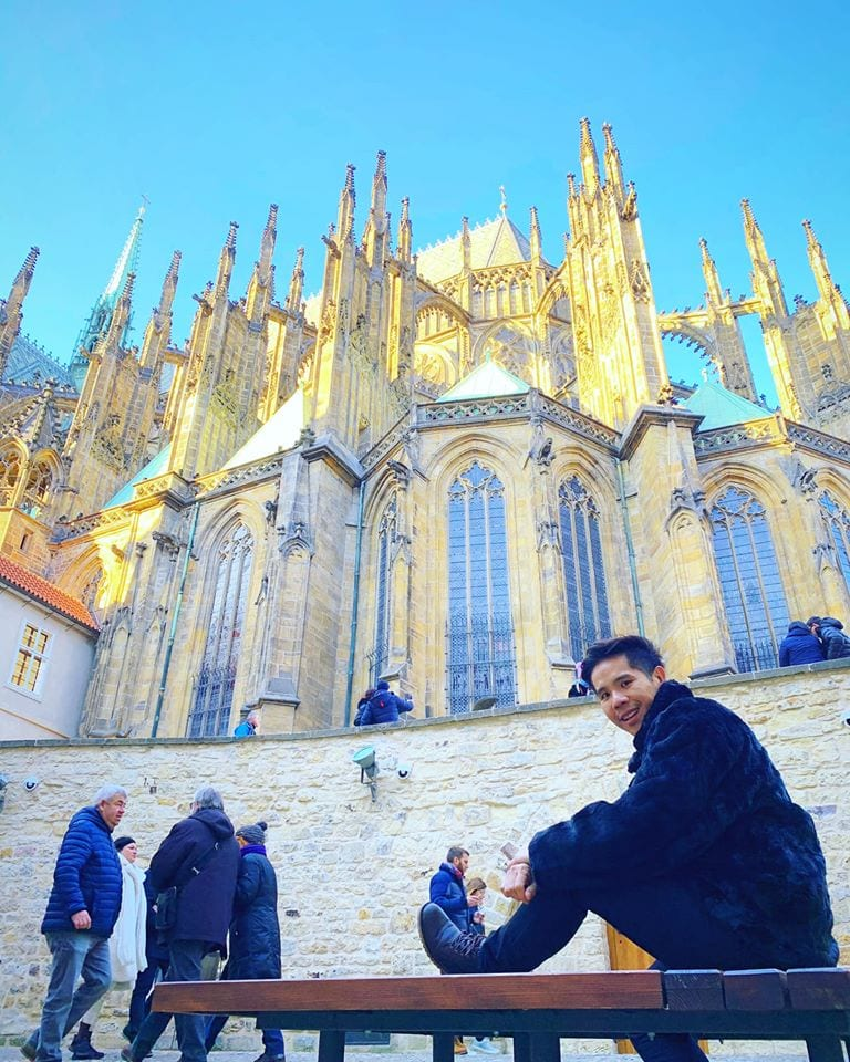 Prague castle with gold-tipped spires