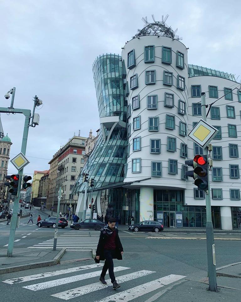 Quaint building on streets of Prague