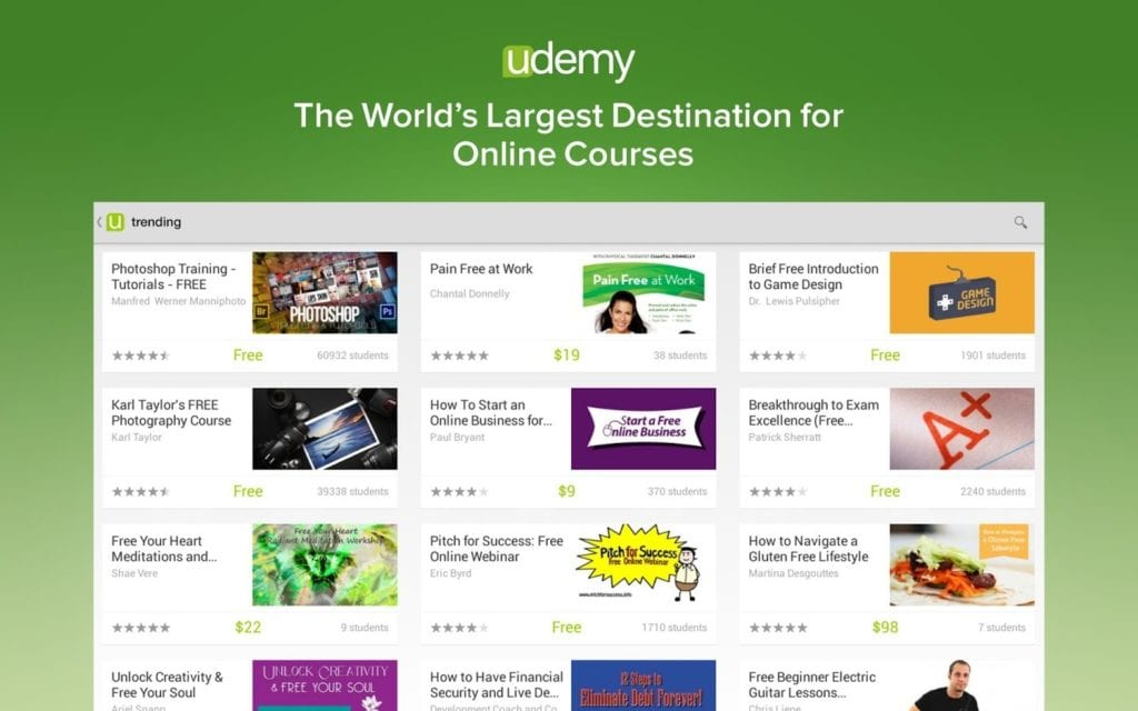 Screen page of courses on Udemy