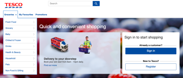 tesco online grocer homepage