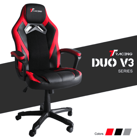 ergonomic gaming chair in black and red