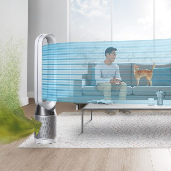 man and cat with Dyson Air Purifier