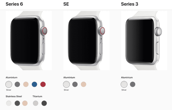 Apple Watch colours