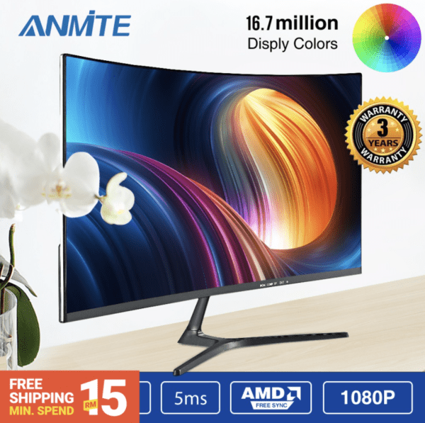 shopee anmite curved monitor super slim and sleek home electronic gadgets