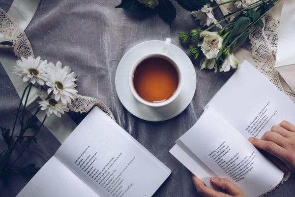 drinking tea and reading books