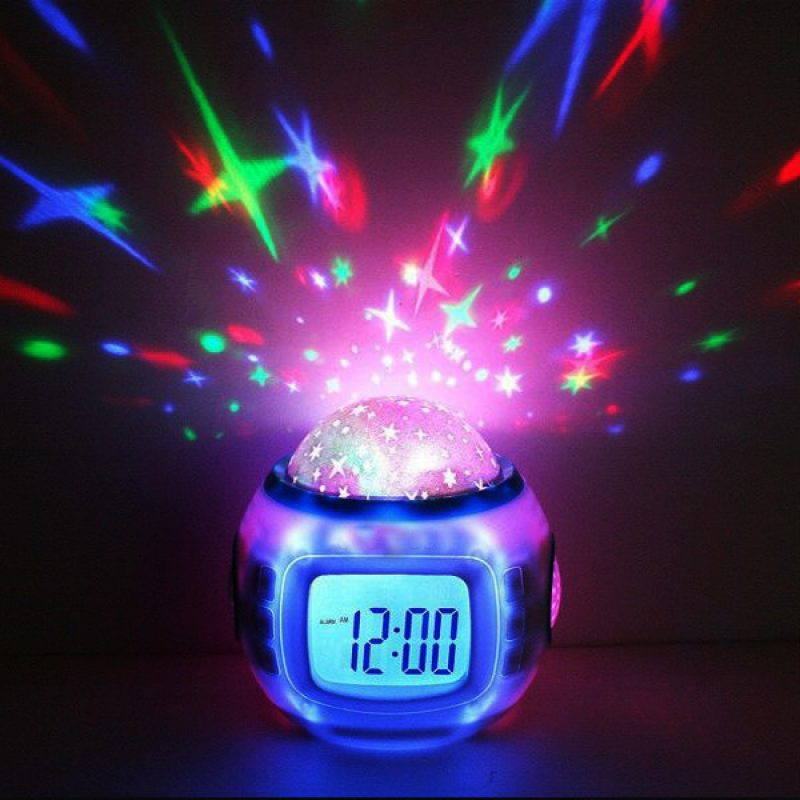 Music and Colorful Starry Sky Stars Projector Calendar Alarm Clock