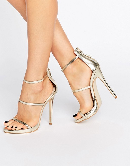 Public Desire Aisha Gold Strappy Heeled Sandals
