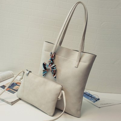 Leisure Solid Color and PU Leather Design Shoulder Bag in Off-White