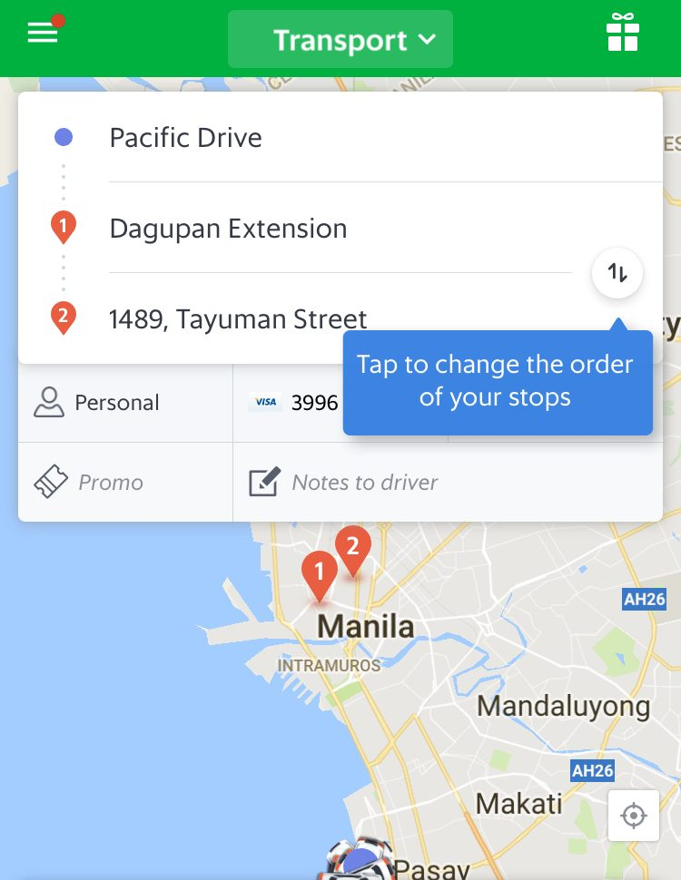 Enter More Than One Drop Off Location on your Grab Taxi App