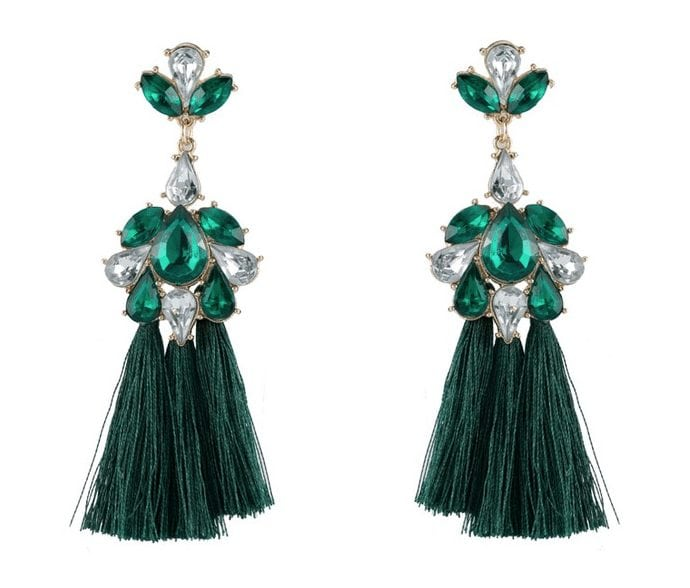Emerald Jewel Tassel Earrings