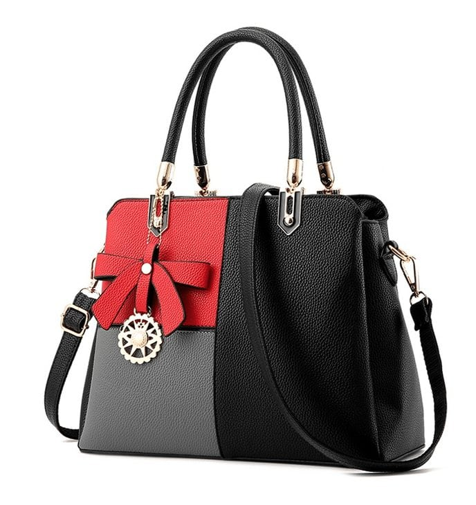 Tri-Color Square Leather Handbag