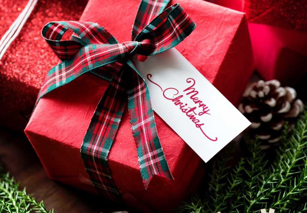 christmas gifts with merry christmas tag